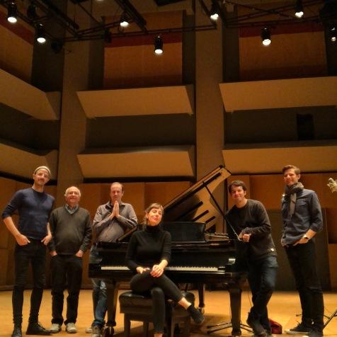 Left-to right: Matthew Ricketts (composer, co-producer); Peter Schubert (co-producer); Chris Paul Harman (composer); Julia Den Boer (pianist); Denis Martin (recording engineer); Nicholas DeMaison (co-producer), McGill University